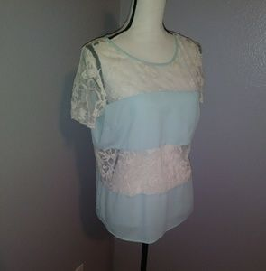 Forever 21 baby blue lace blouse